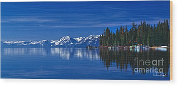 Lake Tahoe Reflections Wood Print by Vance Fox