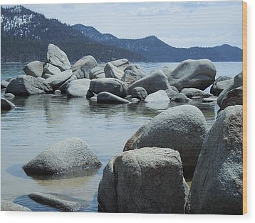 Wood Print featuring the photograph Lake Tahoe Rocks by Dan Whittemore