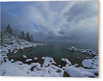 Lake Tahoe Snow Day Wood Print