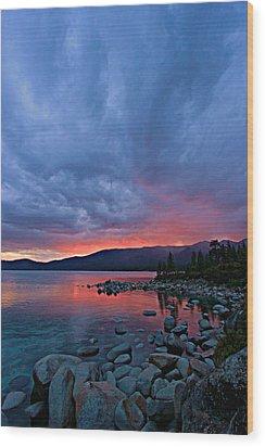 Lake Tahoe Sunset Portrait 2 Wood Print