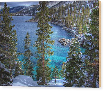 Lake Tahoe Winterscape Wood Print