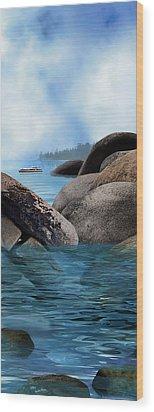 Lake Tahoe With Wooden Boat Wood Print by Julie Rodriguez Jones