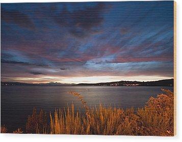 Lake Taupo Sunset Wood Print by Marc Garrido