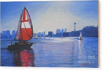 Lake Union And The Red Sail Wood Print