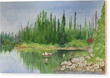 Wood Print featuring the painting Lake View 1-2 by Yoshiko Mishina