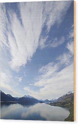 Lake Wakatipu Sky Wood Print by Barry Culling