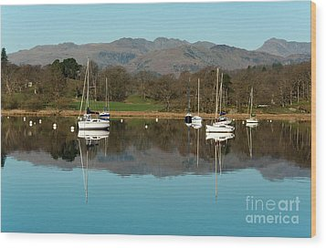 Lake Windermere Yachts Wood Print by John D Hare