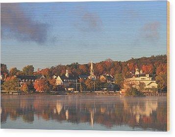 Lake Winnipesaukee Meredith Autumn Morning Wood Print by John Burk