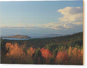 Lake Winnipesaukee Overlook In Autumn Wood Print by John Burk