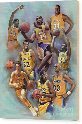 Lakers Legends Wood Print by Blackwater Studio