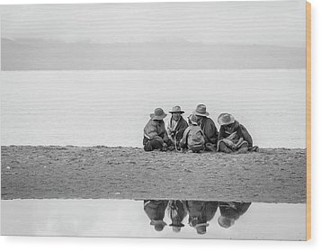 Wood Print featuring the photograph Lakeshore Discussion, Namtso, 2007 by Hitendra SINKAR