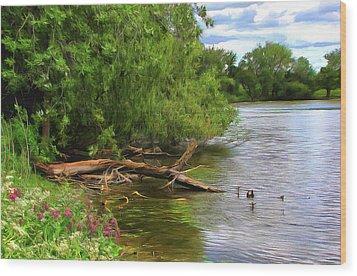 Lakeside Blossoms Wood Print