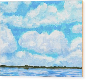 Wood Print featuring the mixed media Lakeside Blue - Georgia Abstract Landscape by Mark Tisdale
