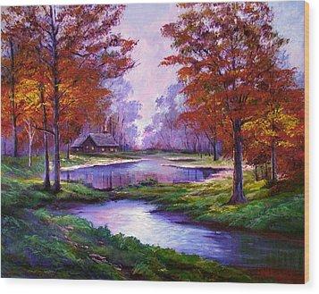 Lakeside Cabin Wood Print by David Lloyd Glover