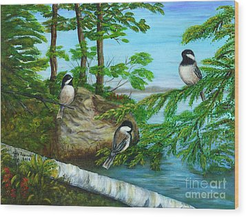 Wood Print featuring the painting Lakeside Chickadees by Judy Filarecki