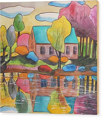 Wood Print featuring the painting Lakeside Dream House by John Williams