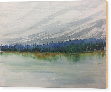 Lakeside - Mountain Foothill  - Banff Wood Print