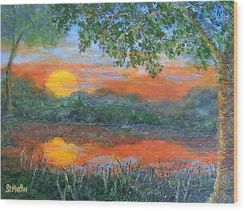 Lakeside Sunset Wood Print by Annie St Martin