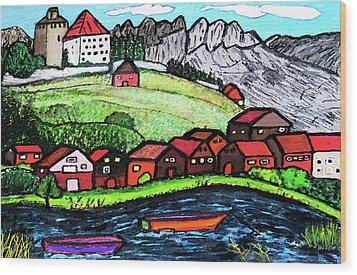 Lakeside View Wood Print by Monica Engeler