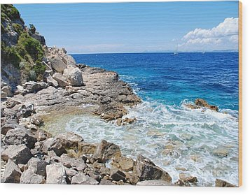 Lakka Coastline On Paxos Wood Print
