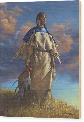 Lakota Woman Wood Print