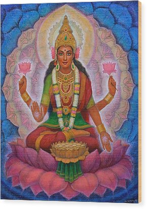 Wood Print featuring the painting Lakshmi Blessing by Sue Halstenberg