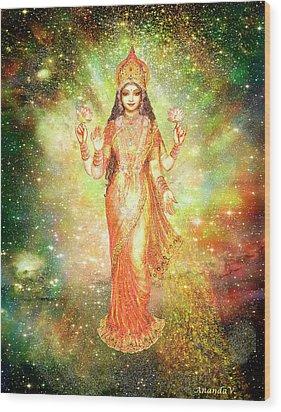 Lakshmi In A Galaxy  Wood Print by Ananda Vdovic