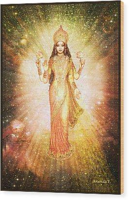 Lakshmi In A Galaxy, Radiating Pink Light Wood Print by Ananda Vdovic