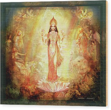Lakshmi With Angels And Muses 1 Wood Print by Ananda Vdovic