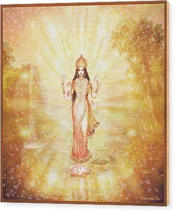 Lakshmi With The Waterfall - Light Wood Print by Ananda Vdovic