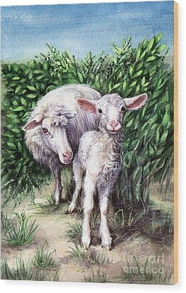 Lamb With His Mother Wood Print by Larissa Prince