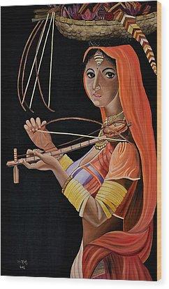 Lambani Girl Wood Print by Usha Rai