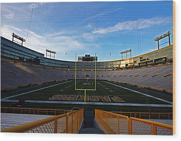 Lambeau Endzone Two Wood Print by Ty Helbach