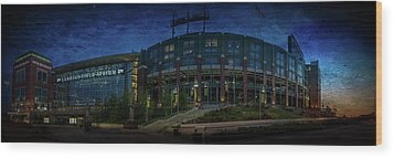 Wood Print featuring the photograph Lambeau Field At Dusk by Joel Witmeyer