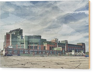 Wood Print featuring the photograph Lambeau Field Painterly Edition by Joel Witmeyer