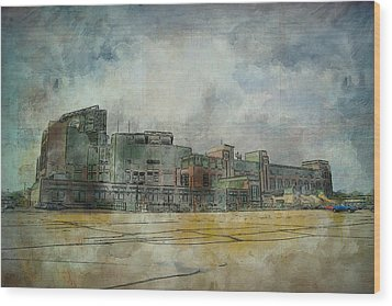 Wood Print featuring the photograph Lambeau Field Watercolor by Joel Witmeyer