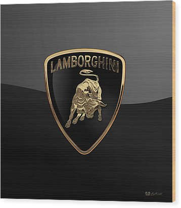 Lamborghini - 3d Badge On Black Wood Print