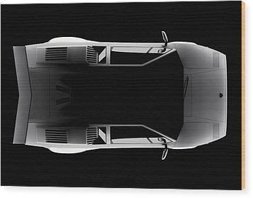 Lamborghini Countach 5000 Qv 25th Anniversary - Top View Wood Print