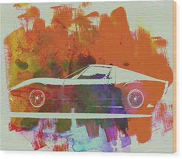 Lamborghini Miura Side 2 Wood Print by Naxart Studio