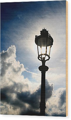 Lamp Post At The Louvre Wood Print by Greg Sharpe