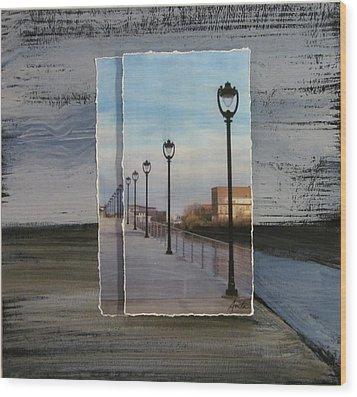 Lamp Post Row Layered Wood Print by Anita Burgermeister