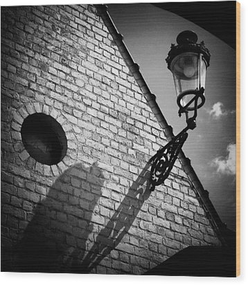 Lamp With Shadow Wood Print by Dave Bowman