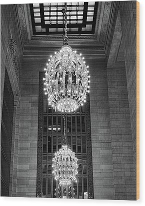 Wood Print featuring the photograph Lamps In Grand Central Station by Lora Lee Chapman