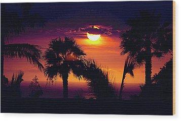 Lanai Sunset Wood Print