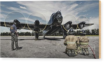 Wood Print featuring the photograph Lancaster Engine Test by Brad Allen Fine Art