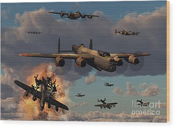 Lancaster Heavy Bombers Of The Royal Wood Print by Mark Stevenson