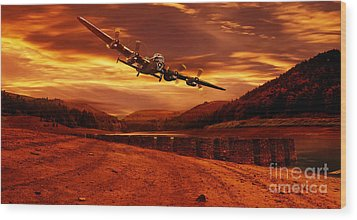 Lancaster Over Ouzelden Wood Print by Nigel Hatton