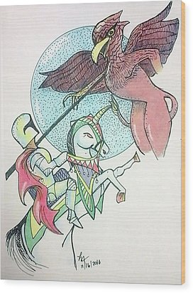 Lancelot And Griffin  Wood Print by Loretta Nash