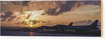 Wood Print featuring the photograph Lancer Flightline by Peter Chilelli