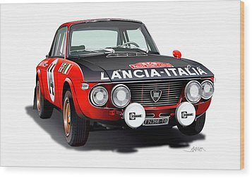 Lancia Fulvia Hf Illustration Wood Print